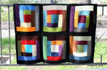 Free Knitting Pattern For Log Cabin Blanket : Log Cabin Scrap Blanket - v e r y p i n k . c o m - knitting patterns and vid...